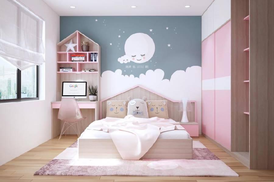 mẫu thiết kế nội thất phòng ngủ cho bé gái công ty xây dựng brocons