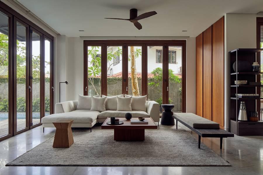 mẫu thiết kế nội thất phòng khách phong cách hiện đại công ty xây dựng brocons