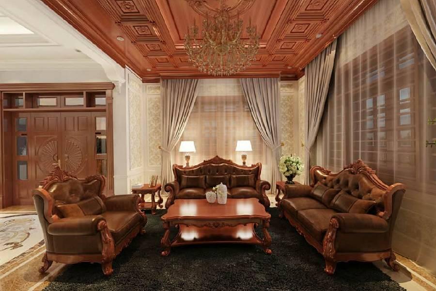 mẫu thiết kế nội thất phòng khách tân cổ điển chất liệu gỗ công ty xây dựng brocons