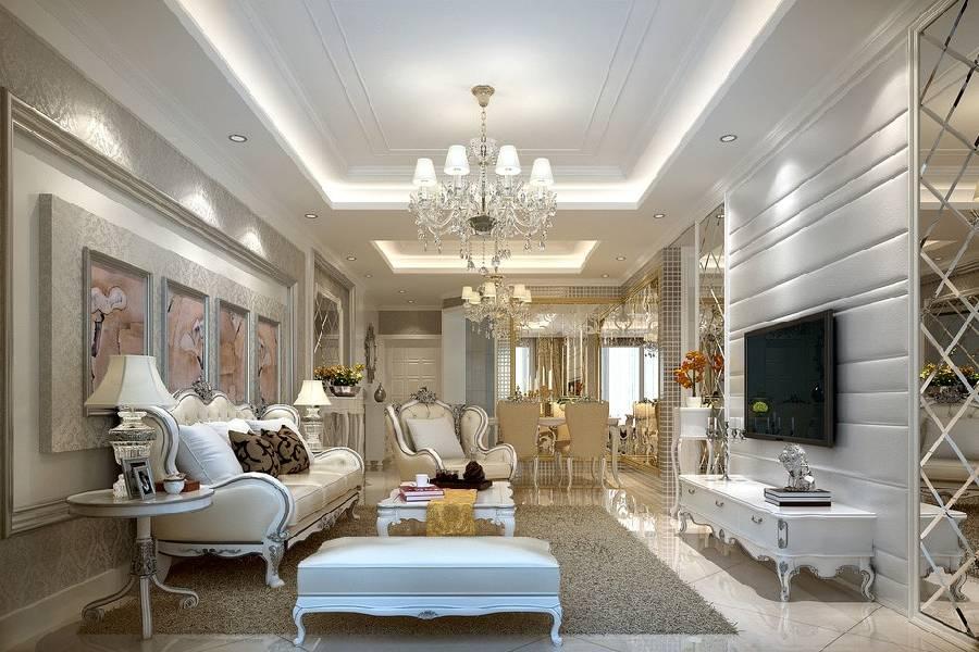 mẫu thiết kế nội thất phòng khách tân cổ điển công ty xây dựng brocons