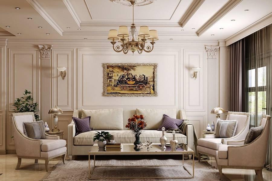 mẫu thiết kế phòng khách tân cổ điển công ty xây dựng brocons