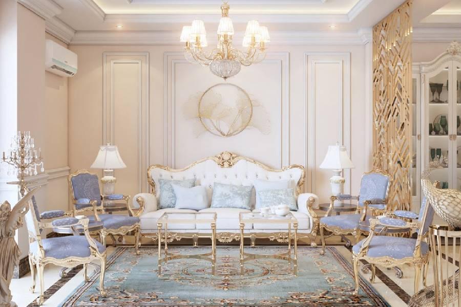 mẫu thiết kế nội thất phòng khách tân cổ điển xây dựng brocons
