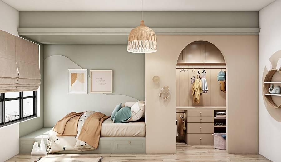 mẫu thiết kế nội thất phòng ngủ bé gái công ty xây dựng brocons