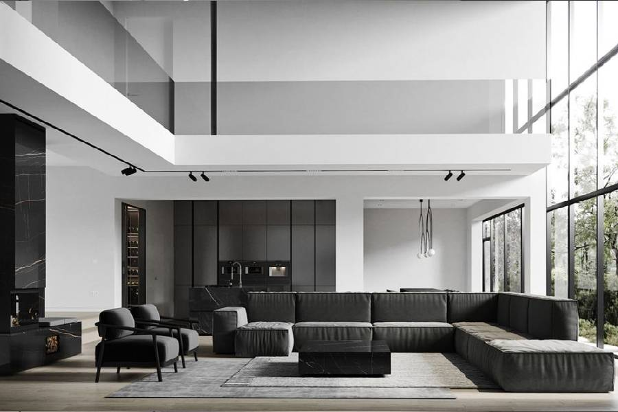 mẫu thiết kế nhà phố 2 tầng tông trắng đen công ty xây dựng brocons