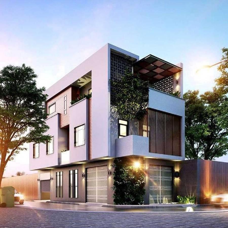 mẫu thiết kế nhà phố 2 mặt tiền kinh doanh công ty xây dựng brocons