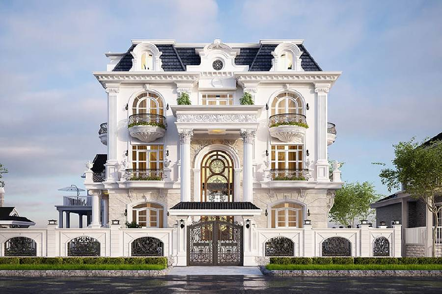 mẫu thiết kế nhà phố 3 tầng phong cách tân cổ điển xây dựng brocons
