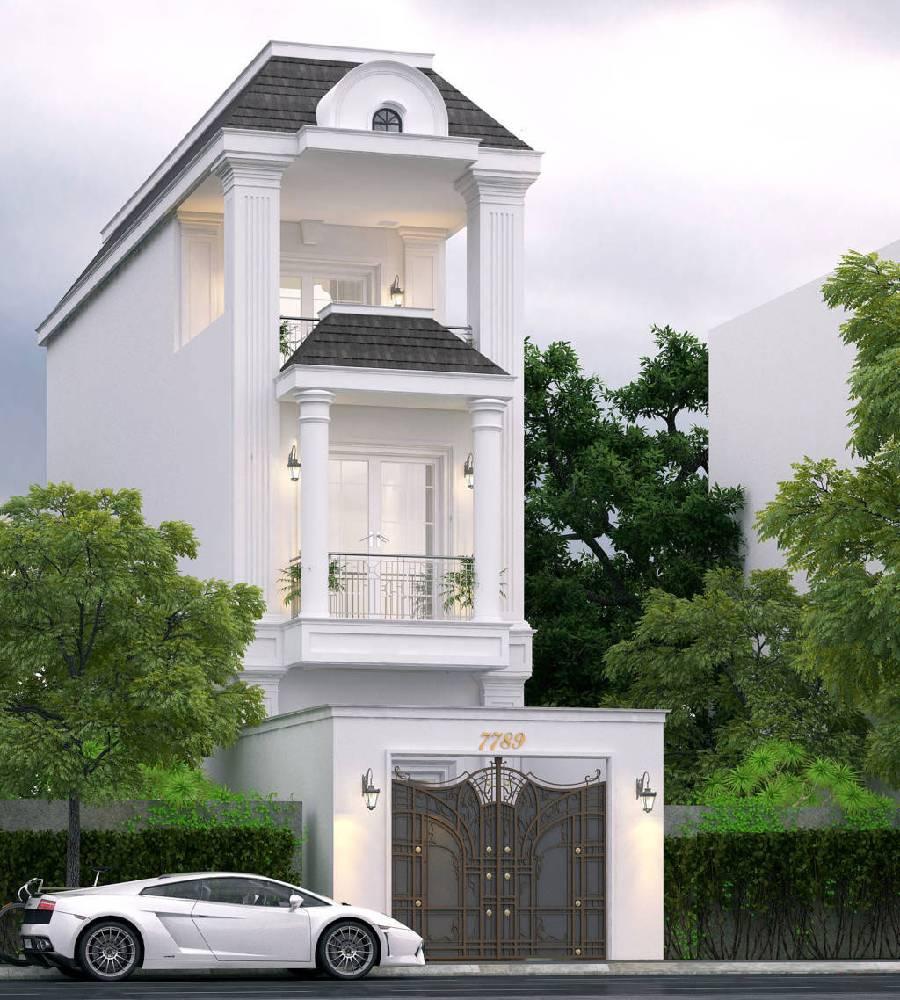 mẫu thiết kế nhà phố tân cổ điển xây dựng brocons