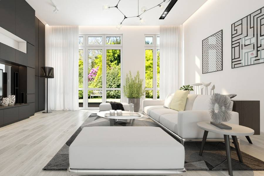 mẫu thiết kế nội thất phòng khách hiện đại, công ty xây dựng brocons