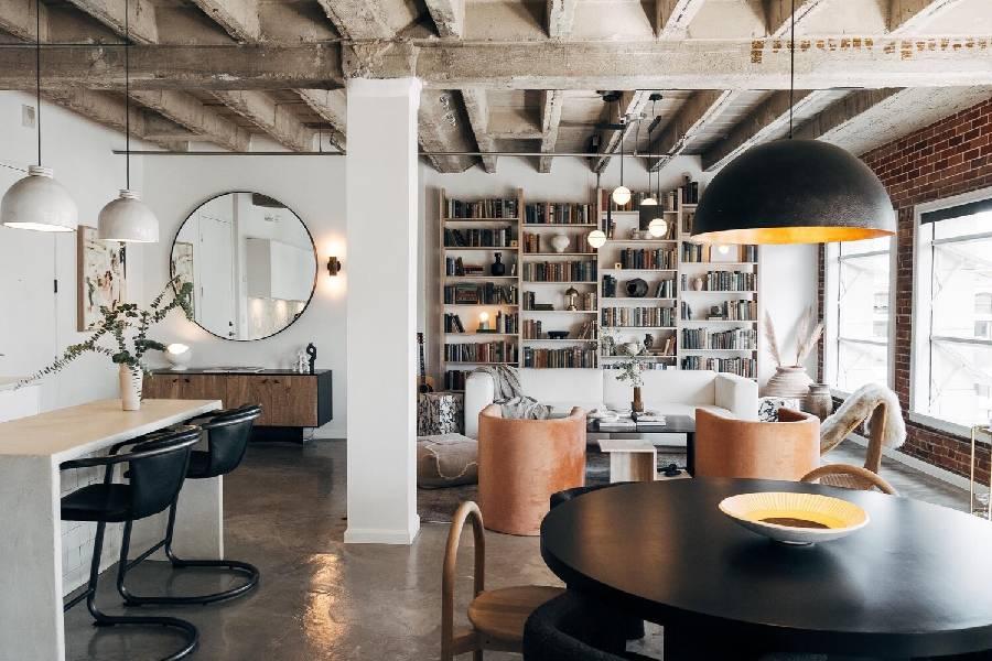 mẫu thiết kế quán cà phê phong cách công nghiệp xay dựng brocons
