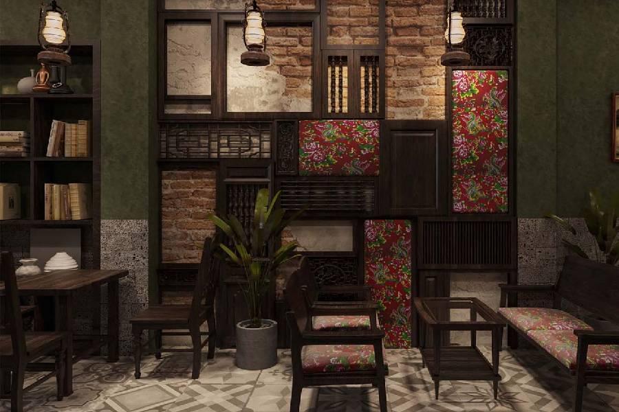 mẫu thiết kế quán cà phê phong cách retro công ty xây dựng brocons
